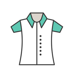 polo shirt filled color outline editable stroke vector image