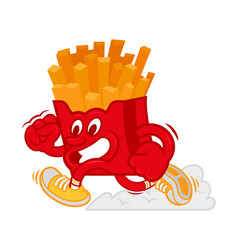 running french fries vector image