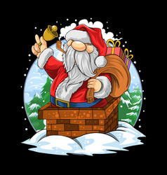 santa claus christmas went into chimney vector image