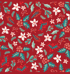 seamless christmas flower mistletoe pattern vector image