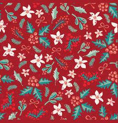 seamless christmas flower mistletoe pattern vector image