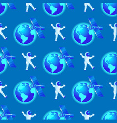 seamless pattern astronaut fly in outer space vector image