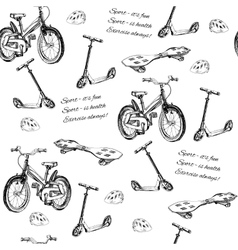 seamless pattern of hand drawn baby bike scooter vector image
