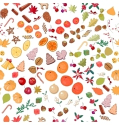 Seamless pattern with fruits and candies vector