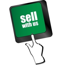 sell with us message on keyboard key to sell vector image