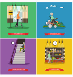 Set aged people posters in flat style vector