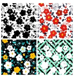 Set of seamless floral backgrounds Seamless vector