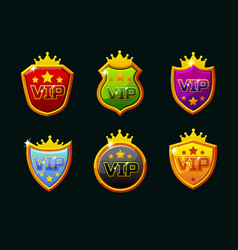 shields with vip logo awards achievement vector image