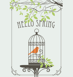Spring banner with bird in cage under green tree vector
