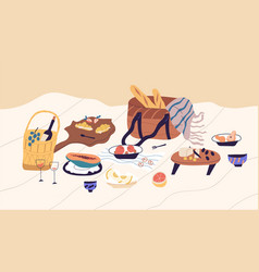 Still life beach picnic blanket with served vector