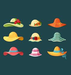 Summer womens hats set bright red headdress blue vector
