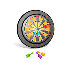 target with darts target 3d icon vector image