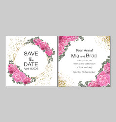 template for wedding invitation peony flowers gold vector image