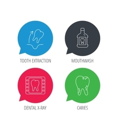 Tooth extraction caries and mouthwash icons vector