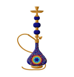 traditional turkish ceramic blue hookah isolated vector image vector image