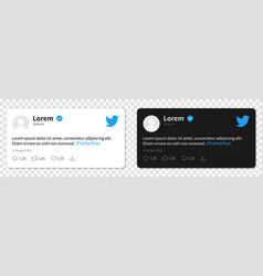 Twitter post mockup tweet frame template vector