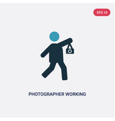 Two color photographer working icon from people vector