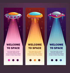 Ufo vertical banners set of vertical long vector