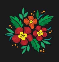 Vintage flower composition embroidery elements of vector
