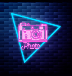 vintage photographer emblem glowing neon sign vector image