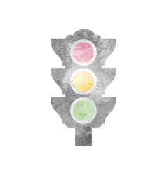 Watercolor traffic light on white vector