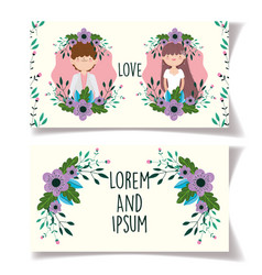 wedding couple flowers greeting cards vector image