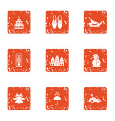 Wonderful holiday icons set grunge style vector