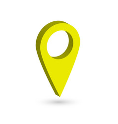 Yellow 3d map pointer with dropped shadow on white vector