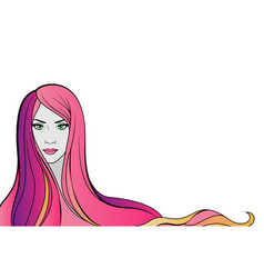 young woman portrait with pink hair vector image