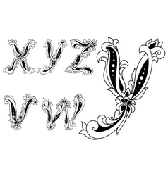 Alphabet letters decorated with flowers vector image