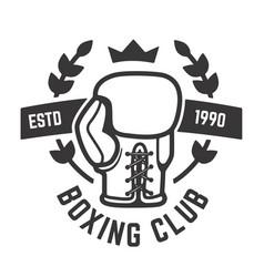 boxing club emblem template boxing glove design vector image vector image