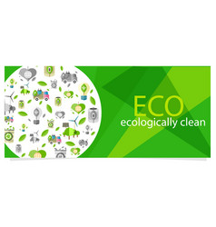 eco eecologically clean poster with equipment vector image vector image