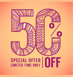 50 percent offornamental doodle sale flyer vector image vector image