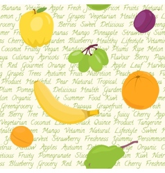 Seamless pattern with fruits and text vector image