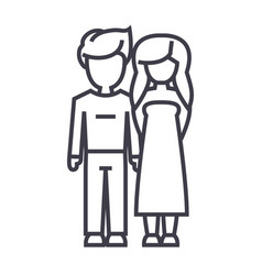 young couple in love line icon sign vector image vector image