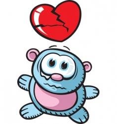 broken heart bear vector image