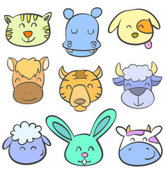 collection of animal head doodle style vector image vector image