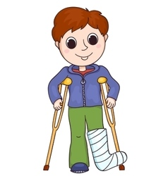 Cute boy with the broken leg vector image