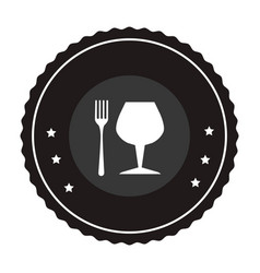 Monochrome circular frame with fork cutlery and vector