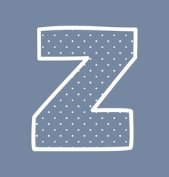 Z alphabet letter with white polka dots on blue vector image vector image