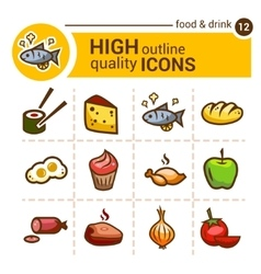 food color outline icons vector image vector image