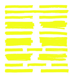hand drawn yellow highlight marker lines vector image vector image