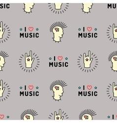 Music seamless pattern Punk Mohawk Rock Grunge vector image vector image