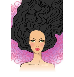 Portrait of beautiful girl with long hair vector image