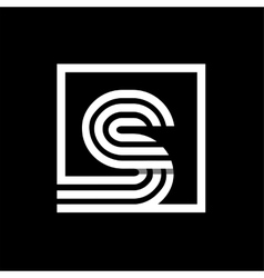 S capital letter made of stripes enclosed in a vector image vector image