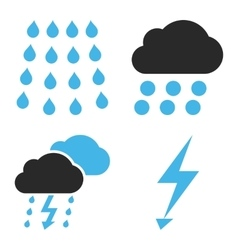 Thunderstorm Flat Icons vector image
