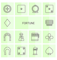 14 fortune icons vector image