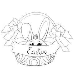 a children coloring bookpage cute rabbit vector image