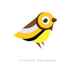 Abstract logo evening grosbeak colorful bird vector