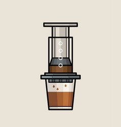Aeropress coffee maker vector